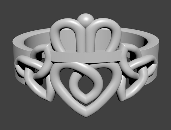 Claddagh Ring With Triquetra Knots