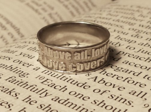 Bible verse ring 1 peter 48 do celtic jewelry for Wedding ring meaning bible