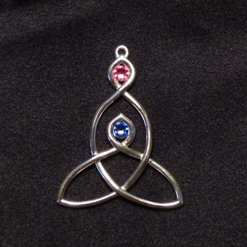 Birthstone Mother-Child Knot Necklace